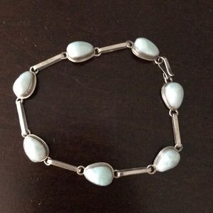 """Turquoise and silver bracelet 8"""" length"""